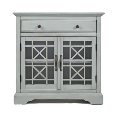 Craftmen Series Earl Gray 32 in. Wooden Accent Cabinet with Fretwork Glass Front