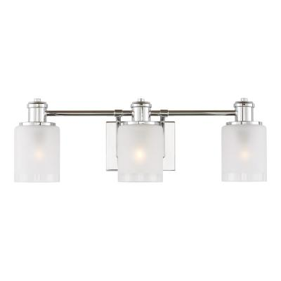 Norwood 24 in. 3-Light Chrome Vanity Light with Clear Highlighted Satin Etched Glass Shades