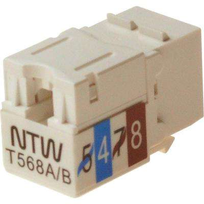 Cat6 Slim HD 90D White Keystone Jack with Punch Down Terminal