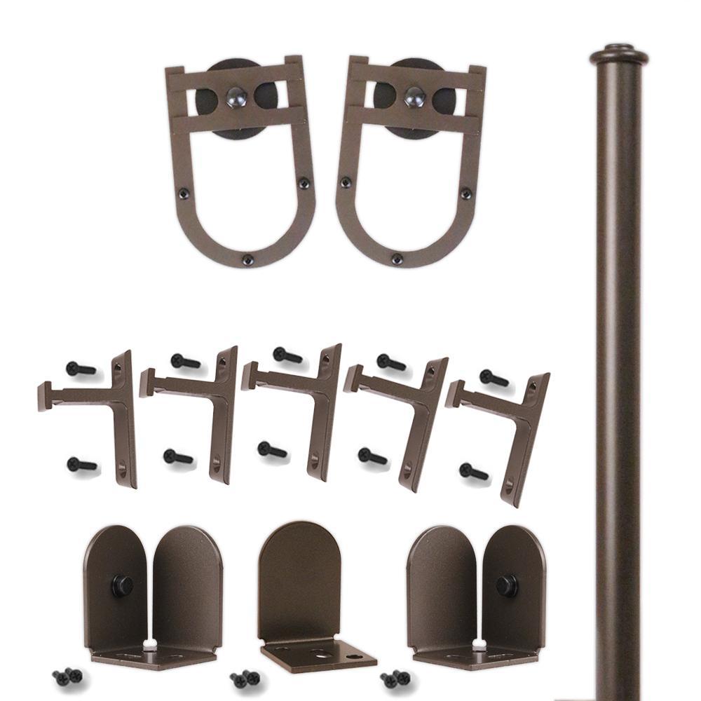 96 in. Horseshoe Oil Rubbed Bronze Rolling Door Hardware Kit