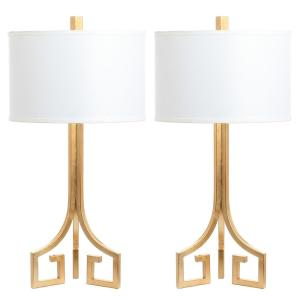 Arabelle Hardback 27.5 in. Gold Greek Key Table Lamp with White Shade (Set of 2)