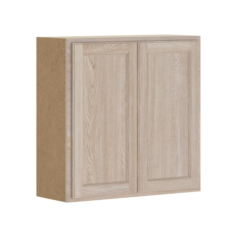 Hampton Bay Stratford Assembled 27x30x12 In Wall Cabinet In Unfinished Oak