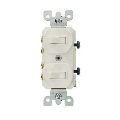 15 Amp Commercial Grade Combination Two 3-Way Toggle Switches, White