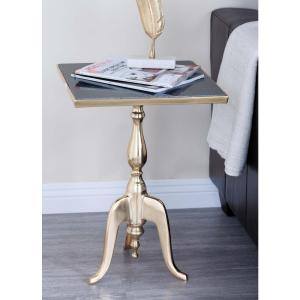 Classic Square Black Marble Accent Table by