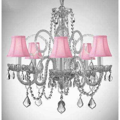 Empress Crystal 5-Light Chandelier with Pink Shades