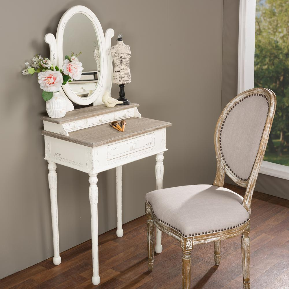 Baxton Studio Alys White And Light Brown French Vanity 28862 6038 HD   The  Home Depot