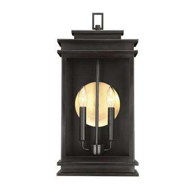 2-Light English Bronze Outdoor Wall Mount Sconce with Clear Glass