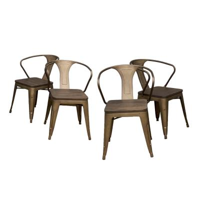 Loft Style 18 in. Rustic Gunmetal Dining Chair with Dark Elm Wood Tops (Set of 4)