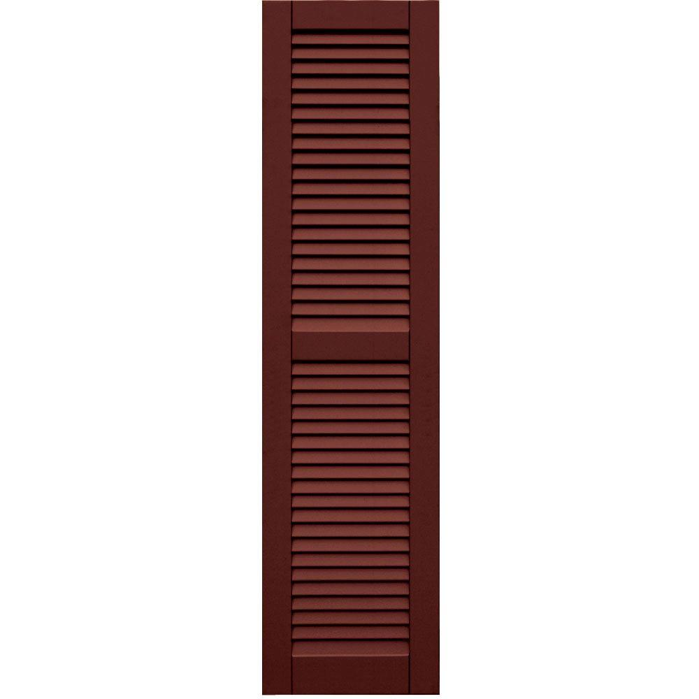 Winworks Wood Composite 15 in. x 59 in. Louvered Shutters Pair #650 Board and Batten Red
