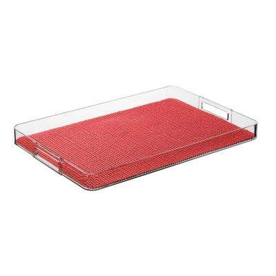 Fishnet Flag Red Rectangular Serving Tray