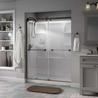 Silverton 60 in. x 71 in. Semi-Frameless Contemporary Sliding Shower Door in Bronze with Clear Glass