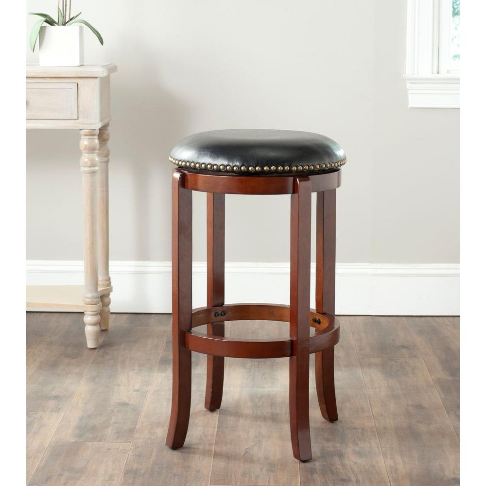 Safavieh Elwood 29 In Cherry Swivel Cushioned Bar Stool