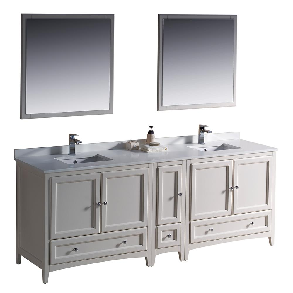 Fresca Warwick 84 in. Bathroom Double Vanity in Antique White with Quartz Stone Vanity Top in White, White Basin and Mirrors