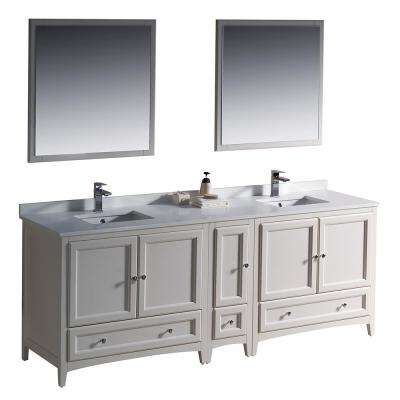 Warwick 84 in. Bathroom Double Vanity in Antique White with Quartz Stone Vanity Top in White, White Basin and Mirrors