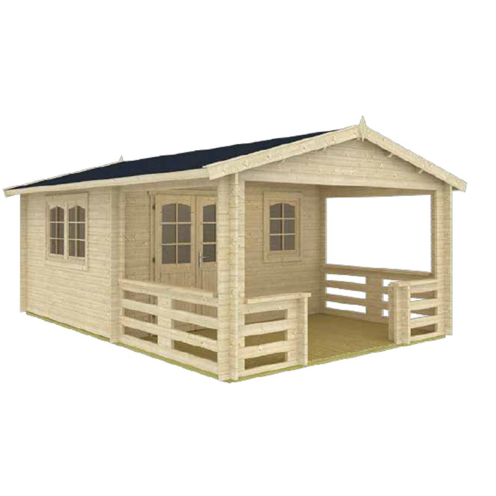 EZ Log Structures Montana 12 ft  5 in  x 18 ft  10 in  Log Garden House  with 12 ft  5 in  x 7 ft  Porch