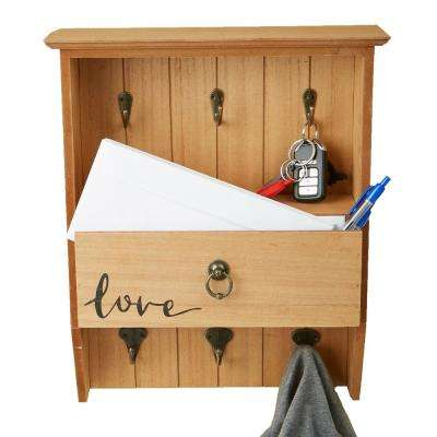 12.99 in. W x 4.13 in. D Brown Door or Wall Mount Coat and Key Rack with 1-Large Drawer Storage Compartment