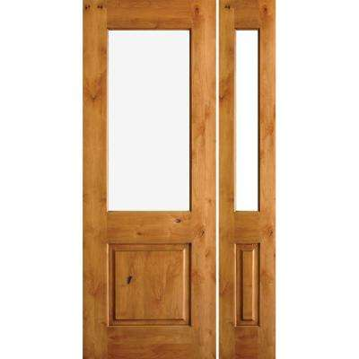 50 in. x 80 in. Rustic Knotty Alder Half Lite Unfinished Left-Hand Inswing Prehung Front Door with Right Sidelite