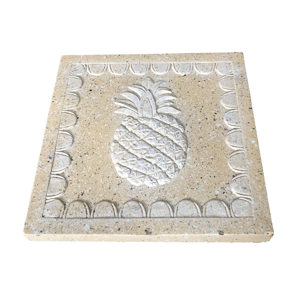 11.81 in. x11.81 in. x 1.81 in. Sandstone Lightweight Concrete Pineapple