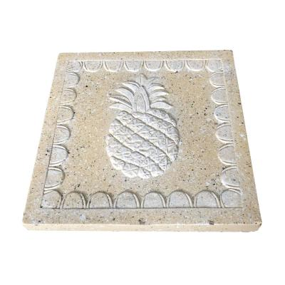 11.81 in. x11.81 in. x 1.81 in. Sandstone Lightweight Concrete Pineapple Square Stepping Stone(2-Pack)