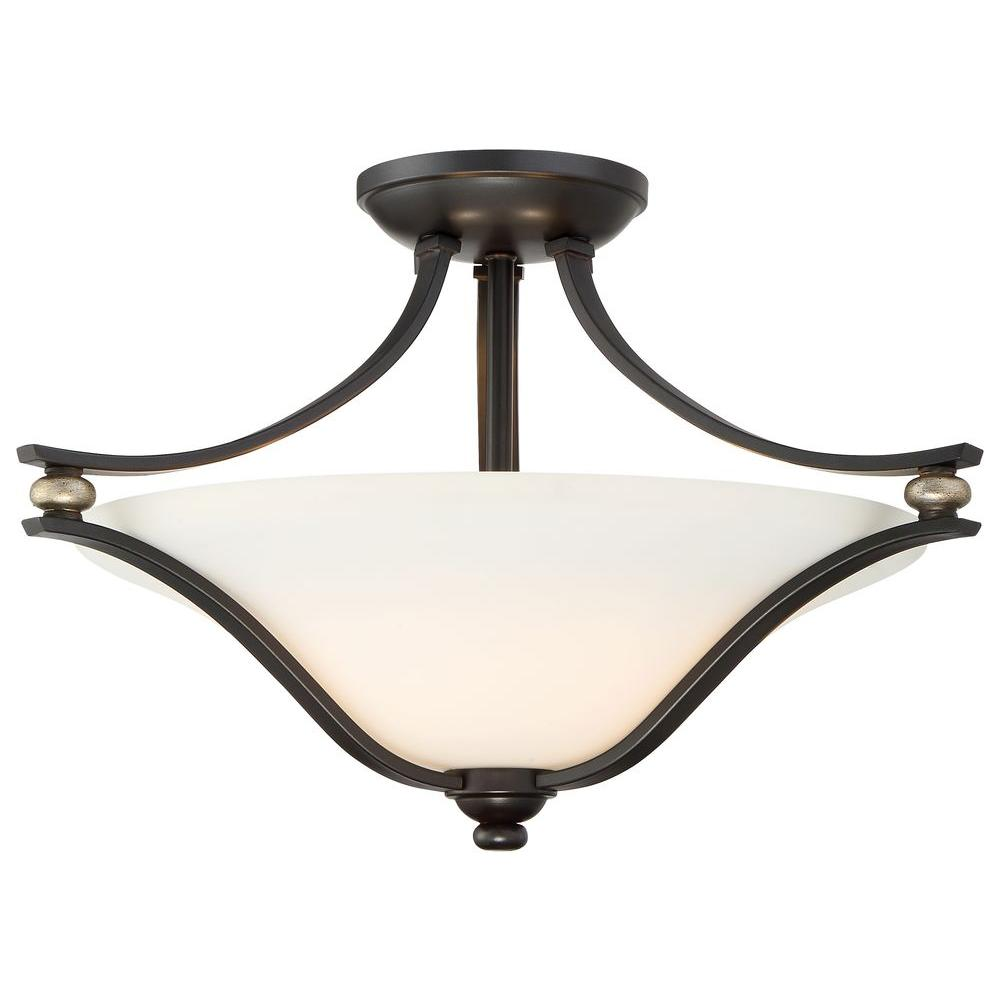 Minka Lavery Shadowglen 2 Light Lathan Bronze Semi Flush Mount 3282 589 The Home Depot