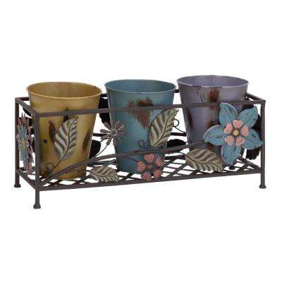 MTL 20 in. L x 7 in. W x 10 in. H Metal Planter Stand