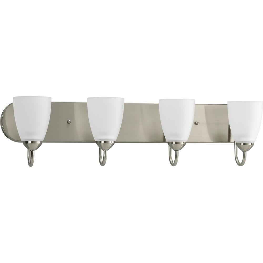 Gather 4-Light Brushed Nickel Vanity Light with Etched Glass Shades