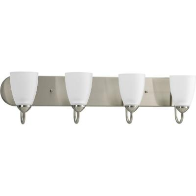 Gather 30 in. 4-Light Brushed Nickel Bathroom Vanity Light with Glass Shades