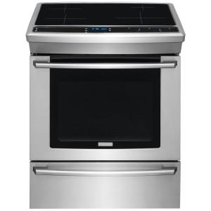 Electrolux Wave-Touch 30 inch 4.6 cu. ft. Induction Slide-In Range Double Oven with Self-Cleaning Convection Oven in Stainless Steel by