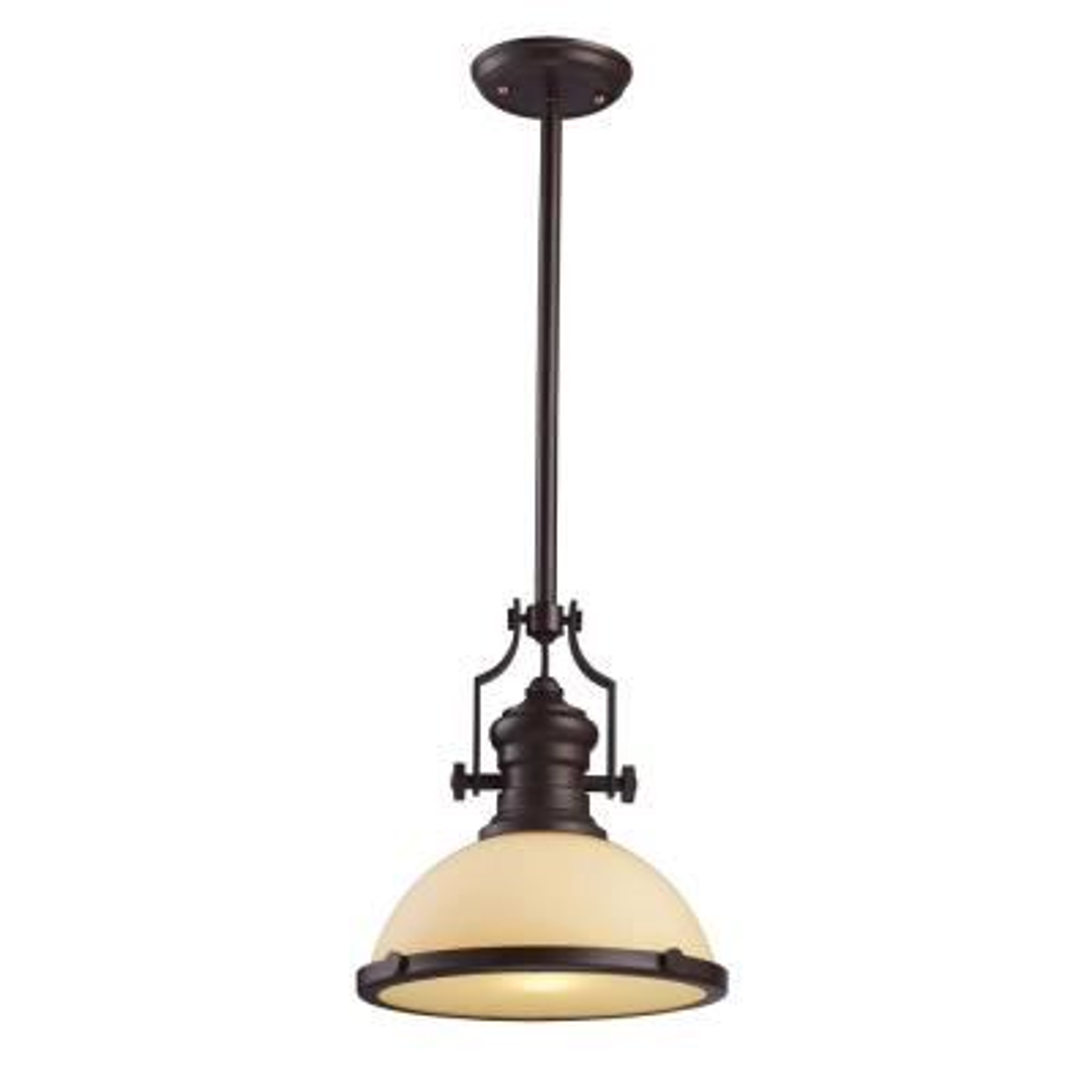 Chadwick 1-Light LED Oiled Bronze and Amber Glass Pendant