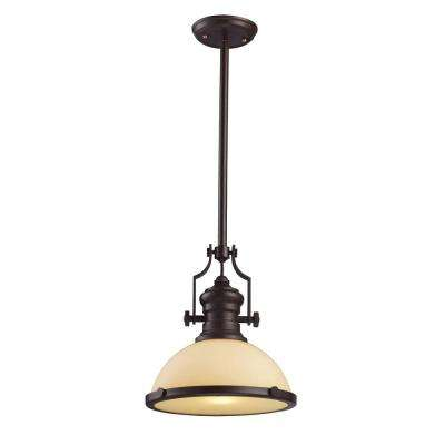 Chadwick 1-Light LED Oiled Bronze and Amber Glass Pendant