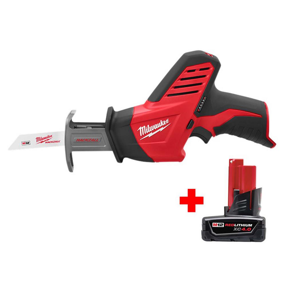 Milwaukee M12 12-Volt Lithium-Ion HACKZALL Cordless Reciprocating Saw with Free 4.0 Ah M12 Battery