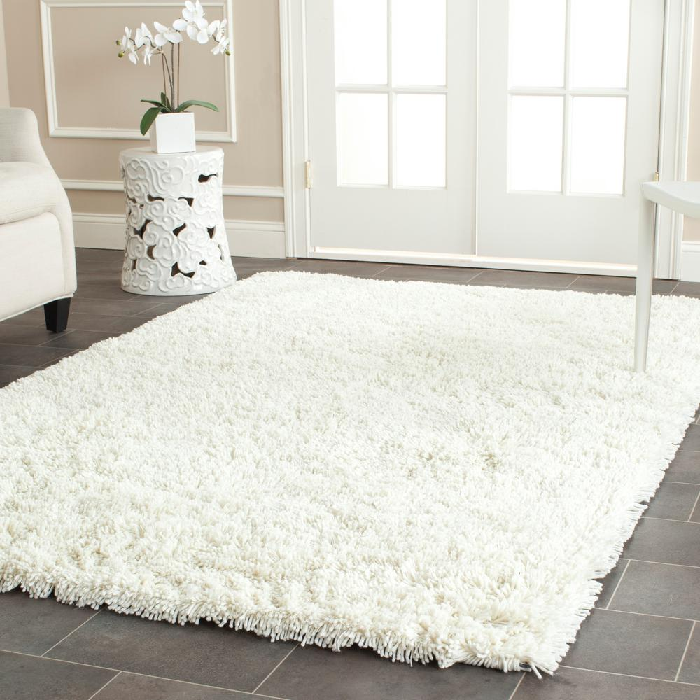 Classic Shag Ultra Ivory 7 ft. 6 in. x 9 ft.
