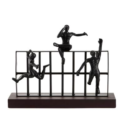 LITTON LANE 14 in. x 11 in. Rectangular Black Metal And Wood Sculpture With Attached Climbing Figures