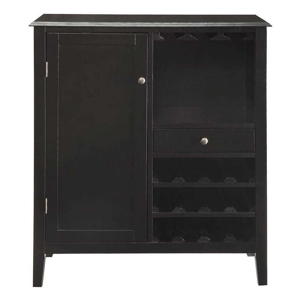 Null Kent 12 Bottle Black Bar Cabinet