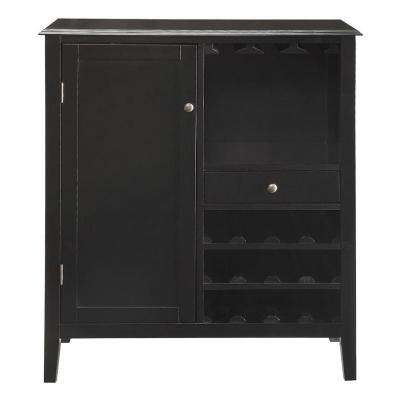 Kent 12-Bottle Black Bar Cabinet