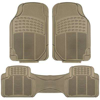 Beige Heavy Duty 3-Piece 29 in. x 18 in. Vinyl Car Floor Mats