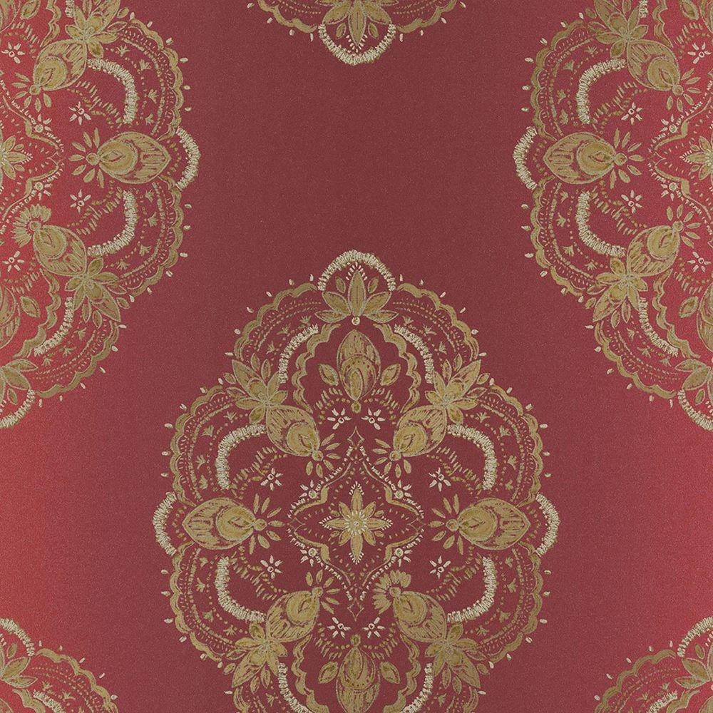 Mirador Burgundy Global Medallion Wallpaper Sample