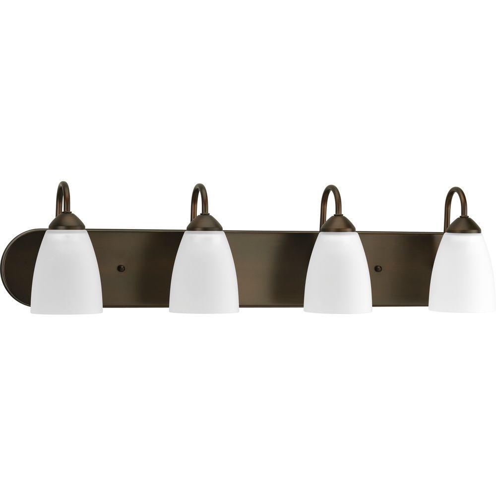 Gather 4-Light Antique Bronze Bathroom Vanity Light with Glass Shades