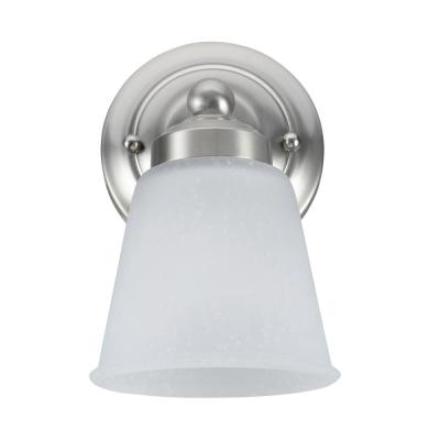 1-Light Satin Nickel Vanity Light with Frosted Seeded Glass Shade