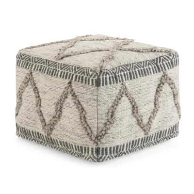 Sweeney Contemporary Square Pouf in Grey and Natural Handloom Woven Pattern