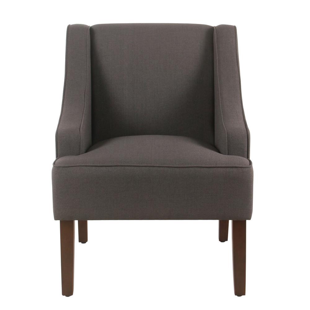 Homepop Linen Look Charcoal Gray Classic Swoop Arm Accent Chair