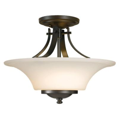 Barrington 15 in. W 2-Light Oil Rubbed Bronze Semi-Flush Mount with Opal Etched Glass