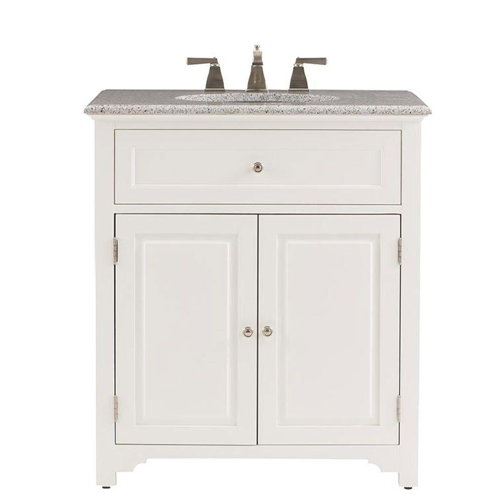 Home Decorators Collection Halifax 32 in. Vanity in White with Granite Vanity Top in Grey
