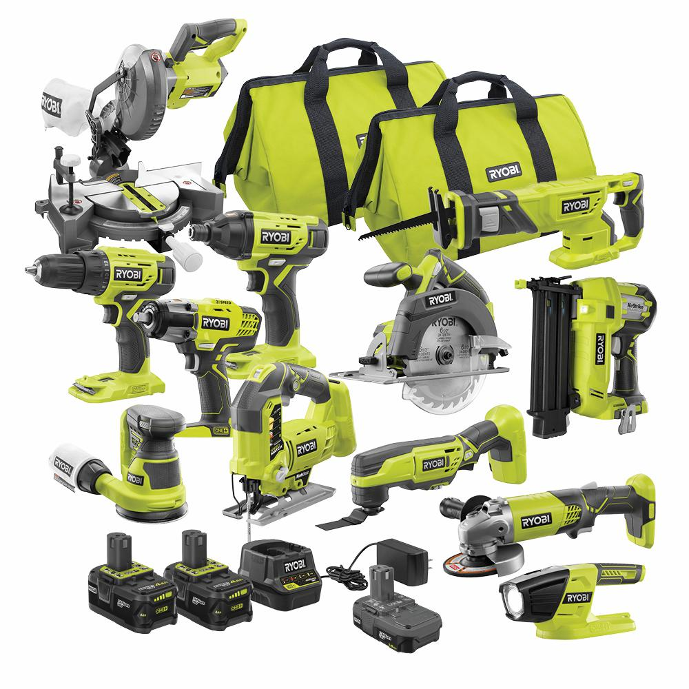 RYOBI ONE+ 18 Volt Cordless 12-Tool Combo Kit with 3-Batteries and Charger
