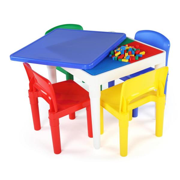 Tot Tutors Playtime 5 Piece 2-in-1 Plastic LEGO-Compatible Kids Activity Table and 4-Chairs Set