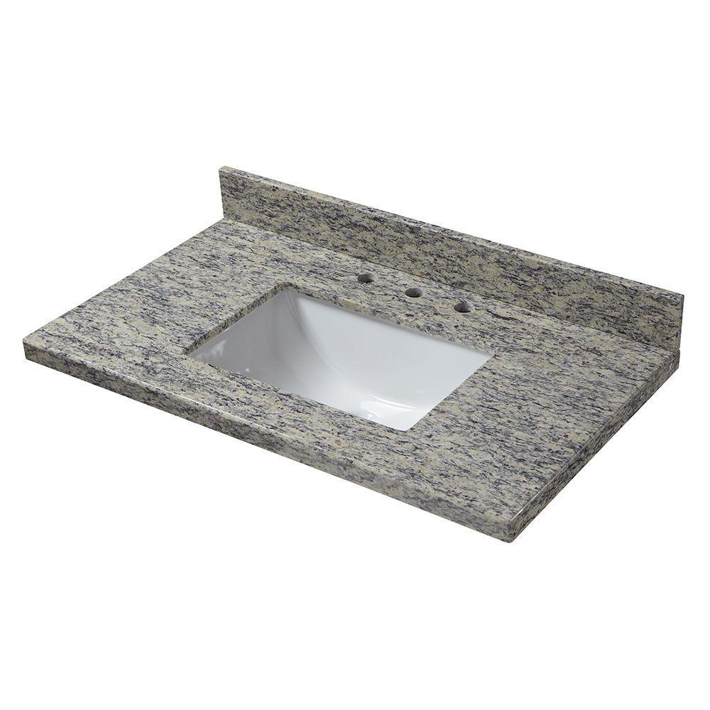 31 in. W x 22 in. D Granite Vanity Top in Santa Cecilia with White Trough Sink