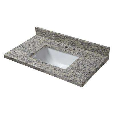 31 in. W x 22 in. D Granite Vanity Top in Santa Cecilia with White Trough Sink