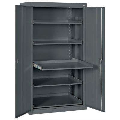 66 in. H x 36 in. W x 24 in. D Steel Heavy Duty Storage with Pull-Out Tray Shelf Cabinets in Charcoal