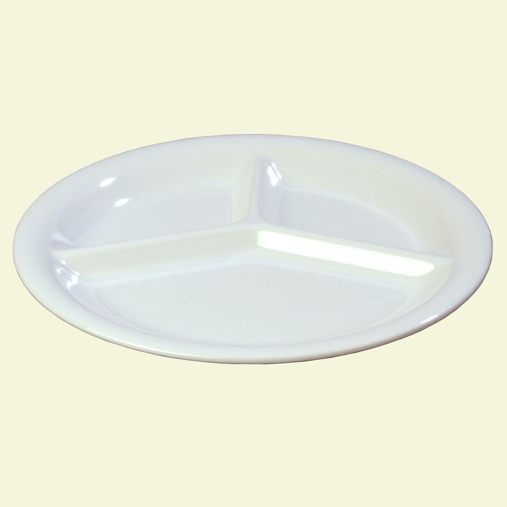 Diameter Melamine 3-Compartment Dinner Plate in White (Case of & Carlisle 10.5 in. Diameter Melamine 3-Compartment Dinner Plate in ...