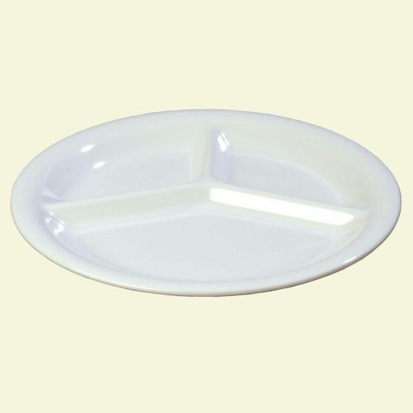 Carlisle 10.5 in. Diameter Melamine 3-Compartment Dinner Plate in White (Case